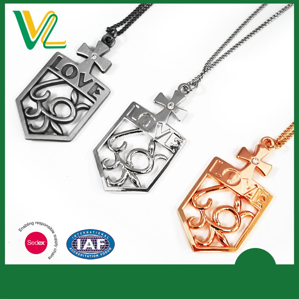 Factory Hot sales Die casting Nickel Love Custom Silver O ring Necklaces Pendant for couples