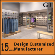 High quality fashion apparel display shelf clothes store MDF steel gondola from GuangZhou