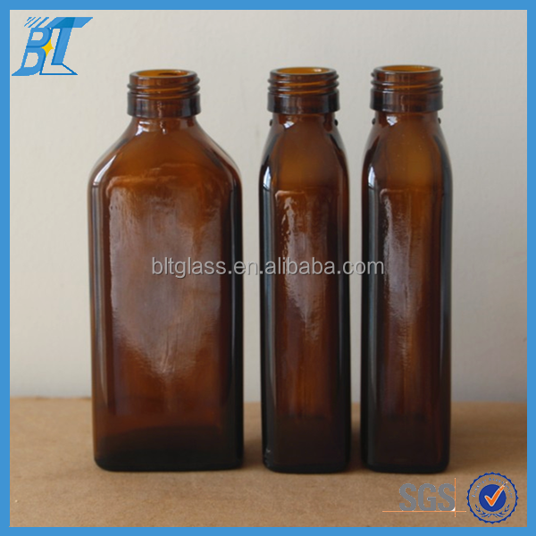 Wholesale 100ml square amber glass cough syrup bottle, maple syrup bottle