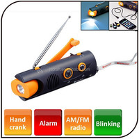 Multi-Function hand crank am fm portable radio with siren powered by AAA battery dynamo rechargeable radio with flashlight