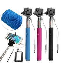 Factory Price Mini Waterproof Cable Selfie Stick and Mutilfunction High Quality Portable Monopods with wire for Mobile Phone