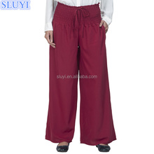 european style islamic clothing latest design muslim women loose stretch pants modest magenta crepe linen cotton palazzo pants