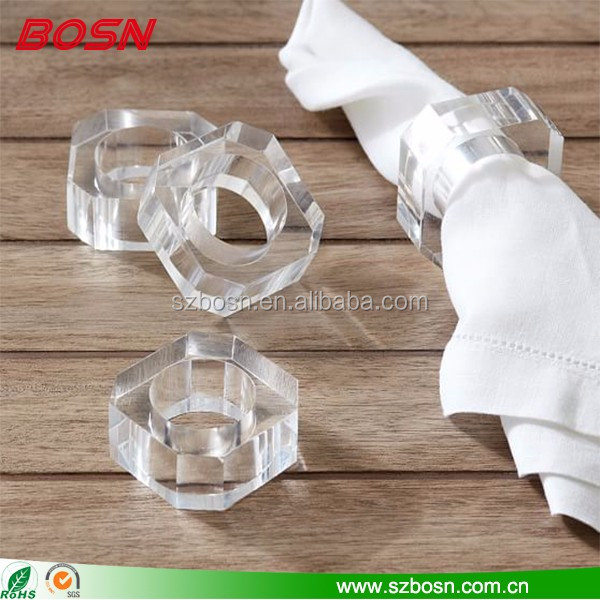 Lucite cheap bulk acrylic napkin rings for weddings dining table decoration
