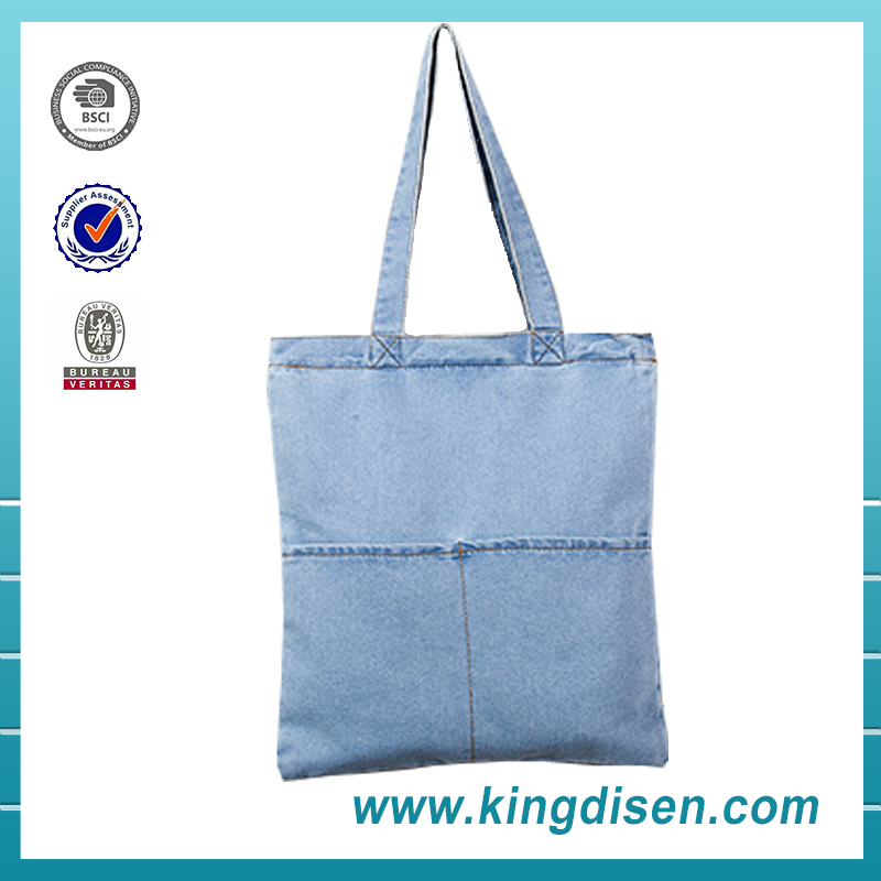 2017 Newest Simple design jean tote bag for ladies