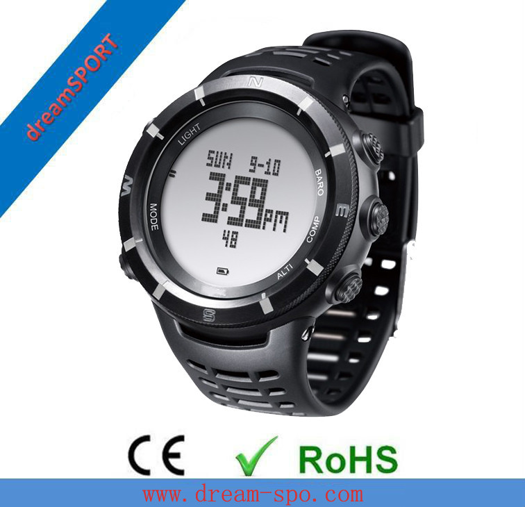2014 newest luxury black altimeter watch compass personality vogue men outdoor watch