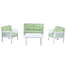 Fashion designs Multi-Use patio garden Furniture white aluminum outdoor table and chairs single/double sofa set with cushions