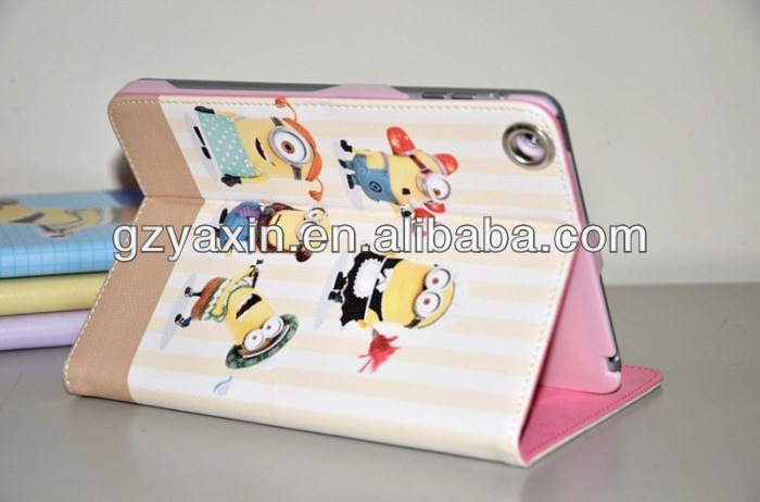 Despicable Me 2 Minions Smart Cover Leather Case For ipad mini,Tablet Case For Ipad Despicable Me Case