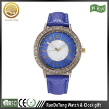 Generous diamond round case roman numberals polygon dial wrist watch walkie talkies