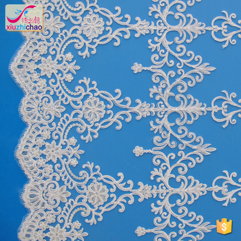 XM0091 wedding card high quality polyester fabric embroidered bridal jewelry set chemical swiss tulle lace fabric