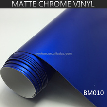 Top Quality 1.52*20m Air Bubble Free PVC Material Matte Chrome Blue Vinyl Film