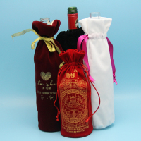 Best Quality Drawstring Velvet Wine Bottle Bag