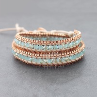 2016 New Fashionable Alloy and seed bead Beaded Wrap Bracelet XE1299