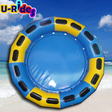 Raft--001 blue+yellow 3 layers padded inflatable round for fiberglass slide