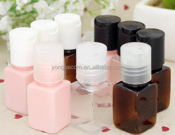 10ml small square Emulsion split flask PET empty bottle with Press cap