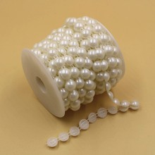 Hot Sale Beads Plastic Chain Trim, Half Round ABS Pearl Plastic Chain For Bride Dress