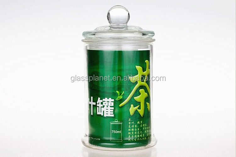 Old Fashioned Clear Glass Round Storage Container, 750ml