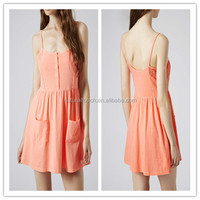 2015 Sexy orange lace vest sundress (YL0211)