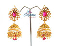 South Indian pearl jhumka earrings-Indian ethnic jewellery-party wear earrings-Bridal pearl earrings -gold plated jhumka earring