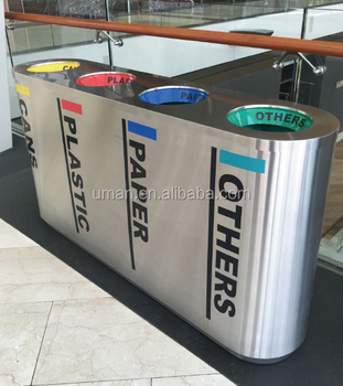 commercial stainless steel classified garbage can garbage bin - Commercial Garbage Cans