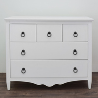 White Color 5 Drawers Dresser Furniture Wood Drawer Chest