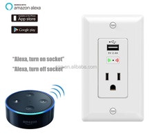 Smart wall mounted power outlet socket with USB port surpport APP control ,google home and Work with Alexa for voice control