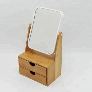 Fashion Style Mini Wooden Dressing Table Mirror With Storage Display Cabinet