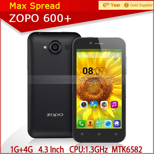 newest 1.3 GHz Quad core cortex A7 CPU original Zopo ZP600+ 4.3 inch MTK6582 brand smartphone