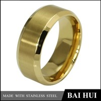YBH004 Men's Titanium Gold-Plated Ring Wedding Band with Flat Brushed Top/Fashion Gold Ring Designs For Men
