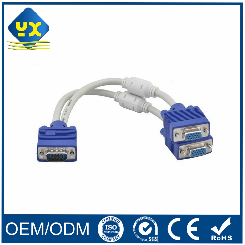 VGA 15Pin 1 Male to 2 Female Extension Splitter Cable with Ferriter Cores VGA Splitter Cable