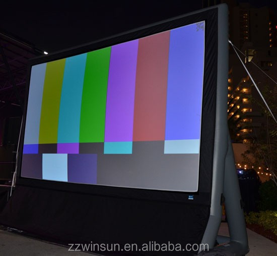 Outdoor inflatable movie screen for advertising