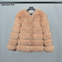 Women's Real Fox Fur Coat Winter Fur Outerwear Jackets High Quality Fashion Style Soft Warm 6 Rows Coat