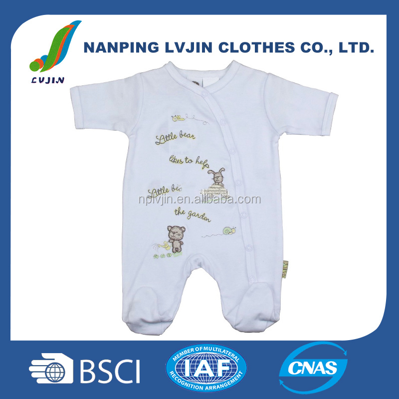 solid white full feet printed cotton baby clothes, newborn European style baby clothing