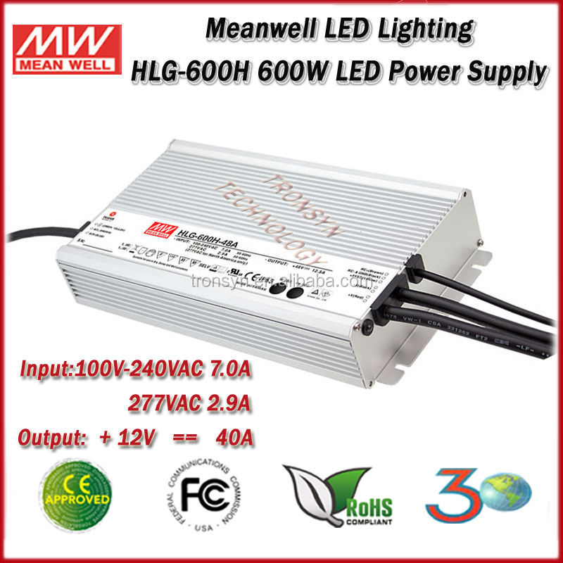 Meanwell Power Supply HLG-600H-12 Single Output 600W 12V Waterproof LED Power Supply With Dimming Function
