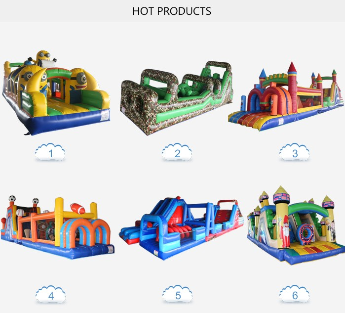 durable 0.55mm pvc sport adult inflatable obstacle course