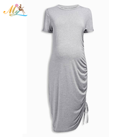 2017 OEM latest fashion korean style 100% cotton light grey clothes maternity dress