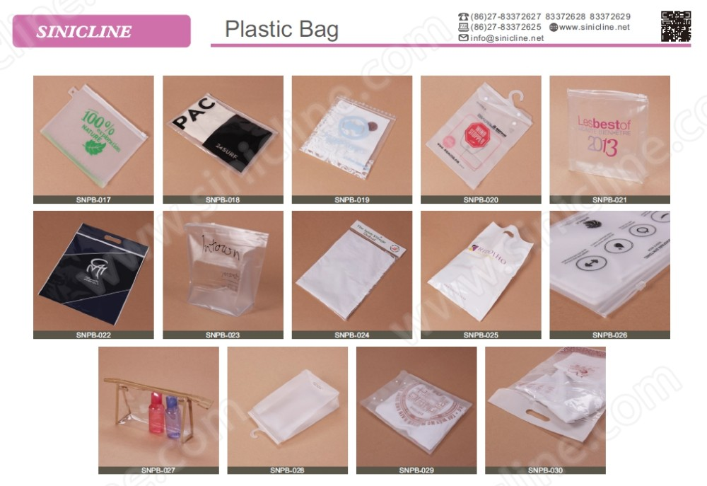 Sinicline customized size shape PVC white slider ziplock bag for holiday package gift