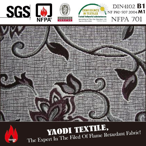 Luxury 100 polyester fire resistant jacquard curtain fabric for sale