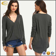 Ecoach fashion V neck Grey Wrap Front Draped Side women plain long fit long hem t-shirt long t-shirt