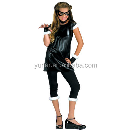Black Cat Girl Child/ Teen Role Play Catwoman Deluxe Kids Costume