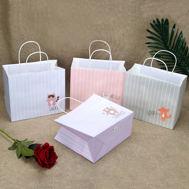 Fashionable brief thin striped craft paper bag with handle