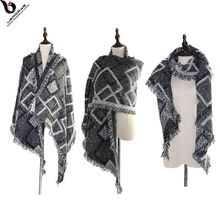 Chinese Soft Textured Cashmere Feeling Print Women Winter Rhomboid Shape Scarf