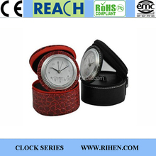 hot sale round shape travel alarm clock with jewelry box