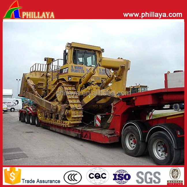 Concaved Lowbed 120T Mine Machines Transport Semi-Trailer With Climbing Ladders Ramp