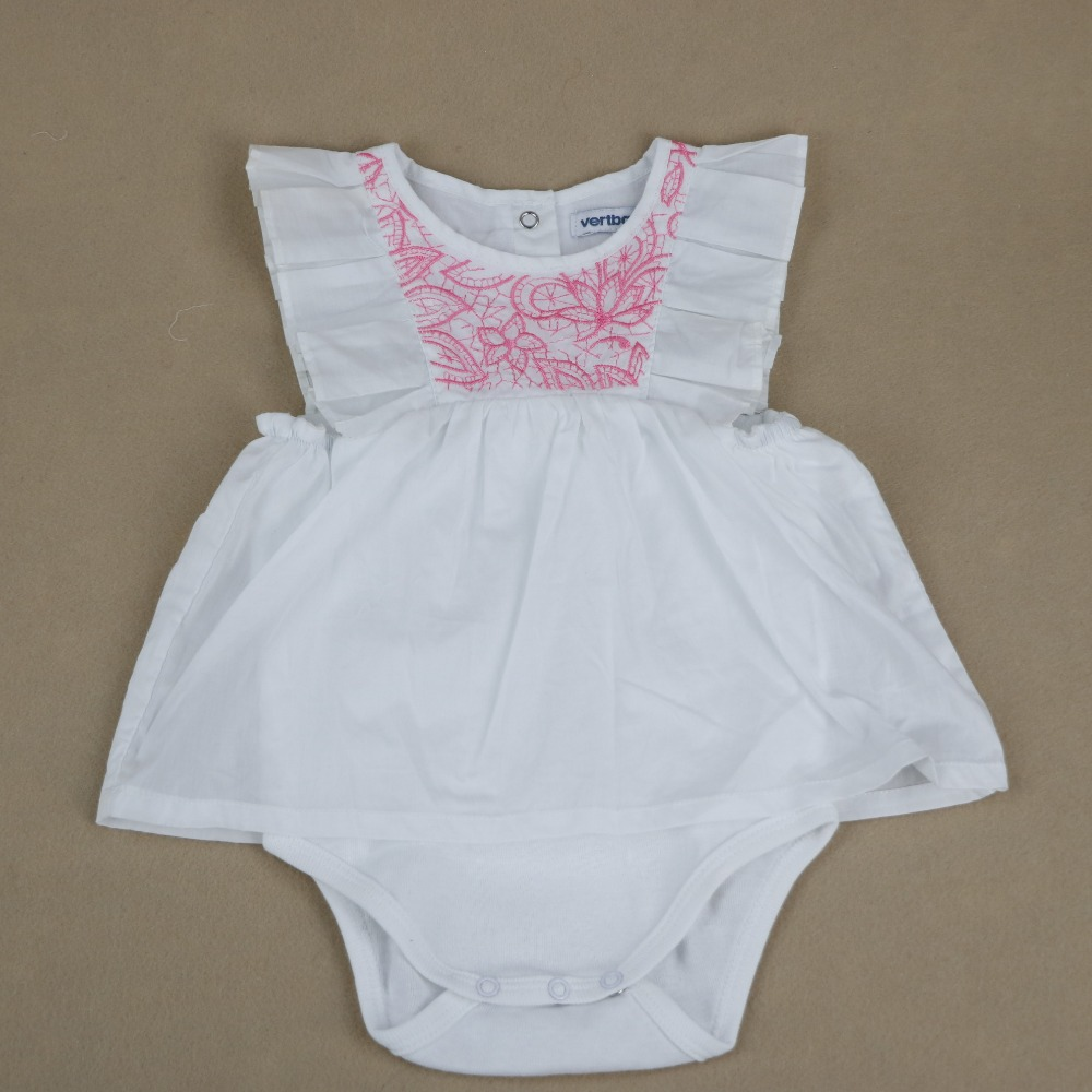 Top quality newborn baby clothes clothing set girl romper jumpsuit 100% indian cotton baby children girls dress