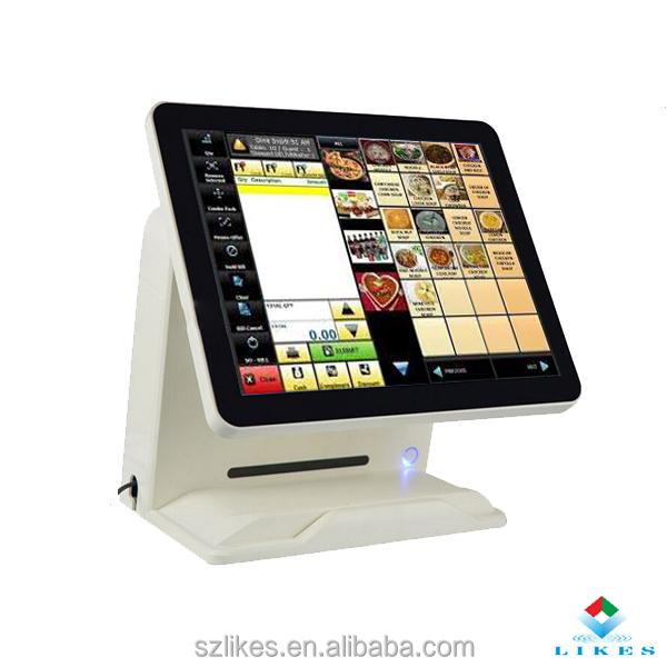 Flat display vesa pos touch pole stand with receipt printer