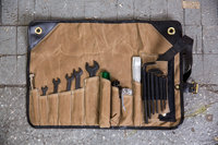 Custom Waxed Canvas Motorcycle Tool Roll With Leather Trim