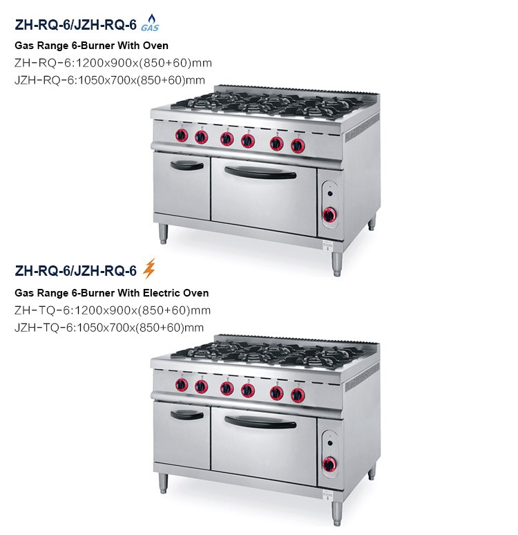 Linkrich JZH-TQ-6 Industrial restaurant kitchen use gas stove cooking range 6 burner with electric oven