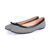 2016 new modal strips fabric leather bowknot step-in shoes stitching turn beautiful lady shoes