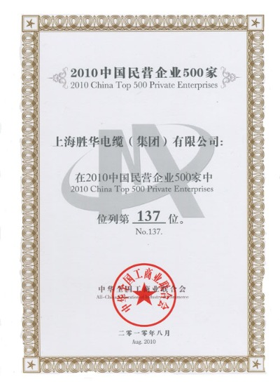 No.137 of 2010 China Top 500 Private Enterprises