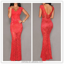 High Quality Women Red Lace Backless Maxi Alibaba Wedding Dress